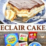 Long collage image of no bake chocolate eclair cake