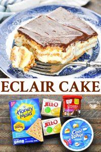 Long collage image of no bake chocolate eclair cake
