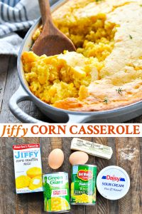 Long collage image of Jiffy Corn Casserole