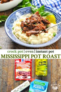 Long collage image of Mississippi Pot Roast