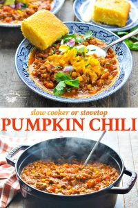 Long collage image of Pumpkin Chili