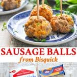 Long collage of Sausage Balls from Bisquick