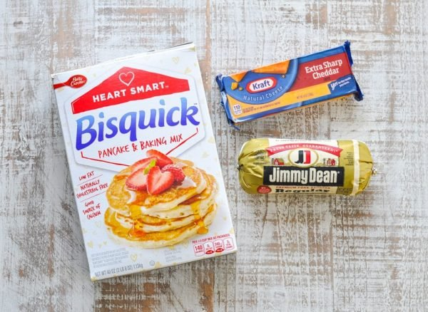 Three ingredients for sausage balls from bisquick