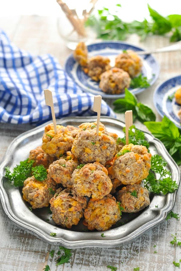 Pewter serving plate full of Jimmy Dean Sausage Cheese Balls