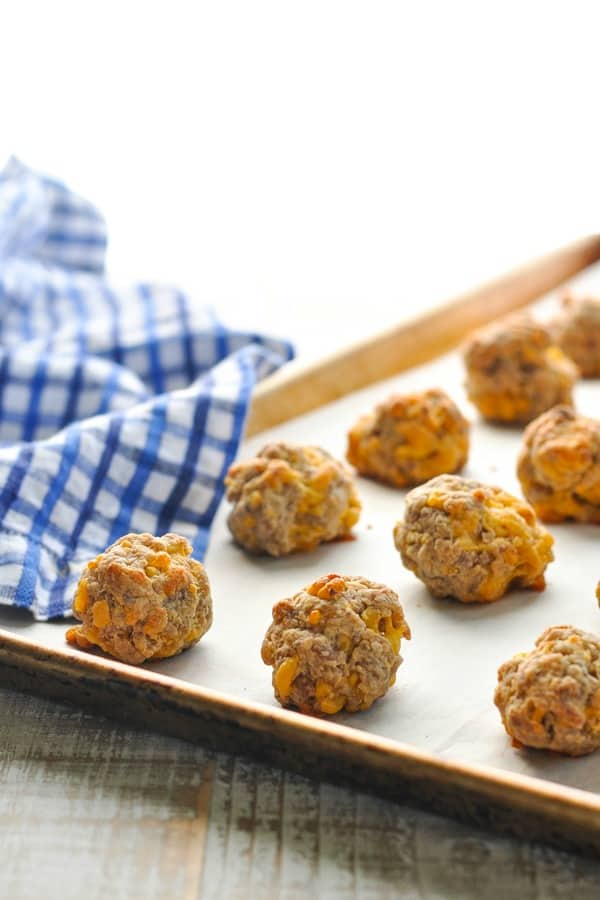 Baked sausage balls from Bisquick on a baking sheet