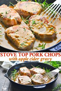 Long collage image of Stovetop Pork Chops with Apple Cider Gravy
