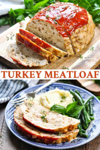 Long collage image of turkey meatloaf