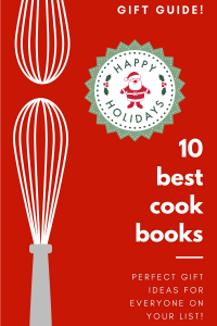 Long collage image of 10 best cookbooks for holiday gift giving