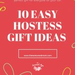 Long collage image of hostess gift ideas