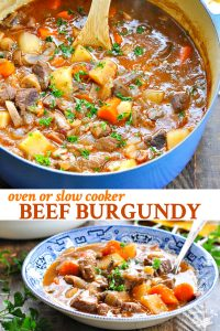 Long collage image of easy beef burgundy recipe for the oven or slow cooker