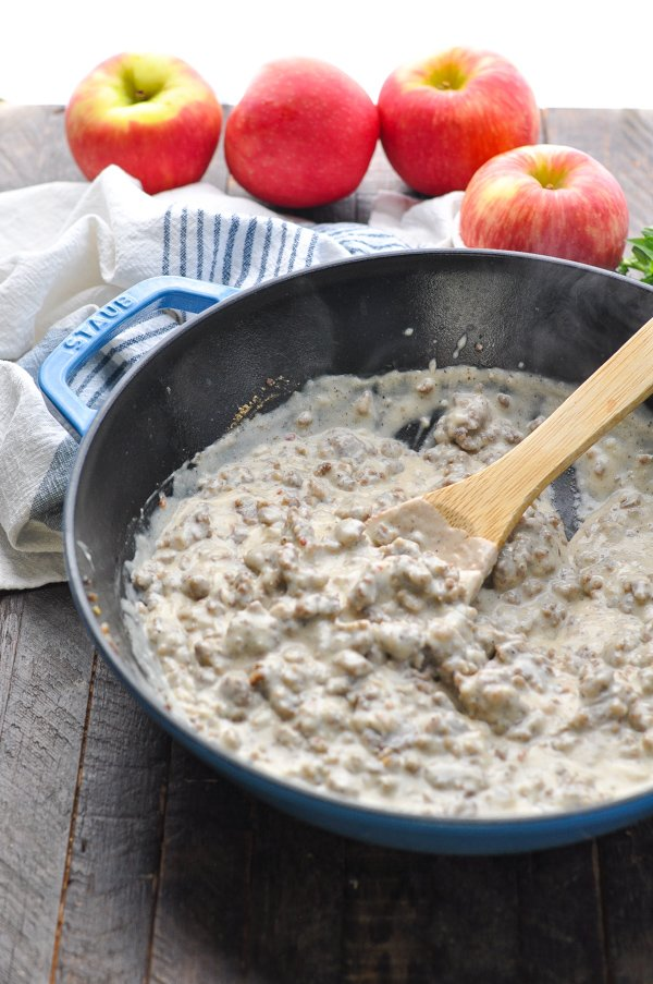 Homemade sausage gravy in a cast iron skillet
