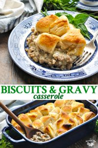 Long collage image of Biscuits and Gravy Casserole