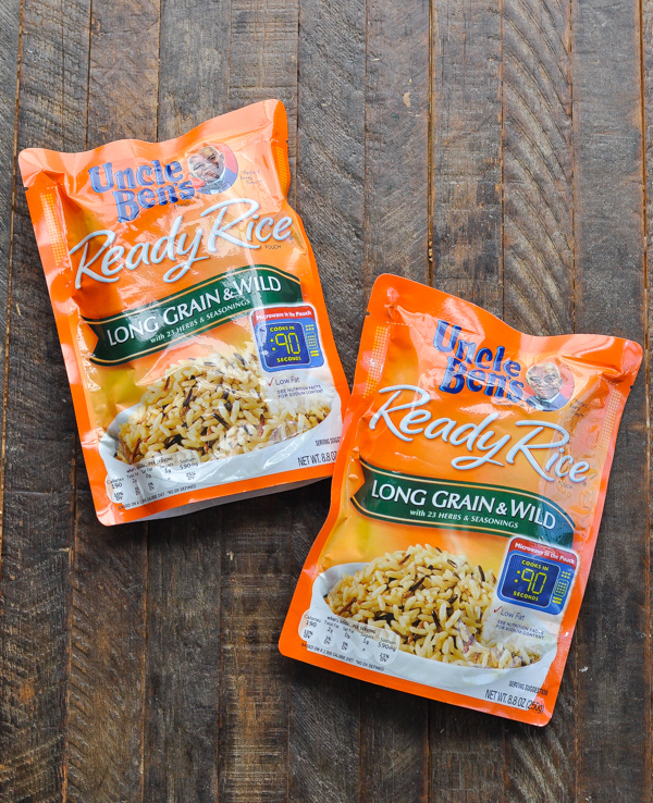 Two packets of Uncle Ben's Ready Rice Wild Rice packets