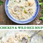 Long collage image of Chicken and Wild Rice Soup
