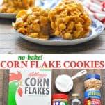 Long collage image of no bake Cornflake Cookies