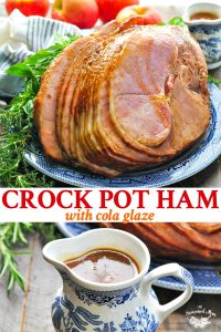 Long collage image of Crock Pot Ham with Cola Glaze