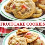 Long collage image of Fruitcake Cookies