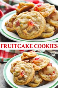 Long collage image of Fruitcake Cookies
