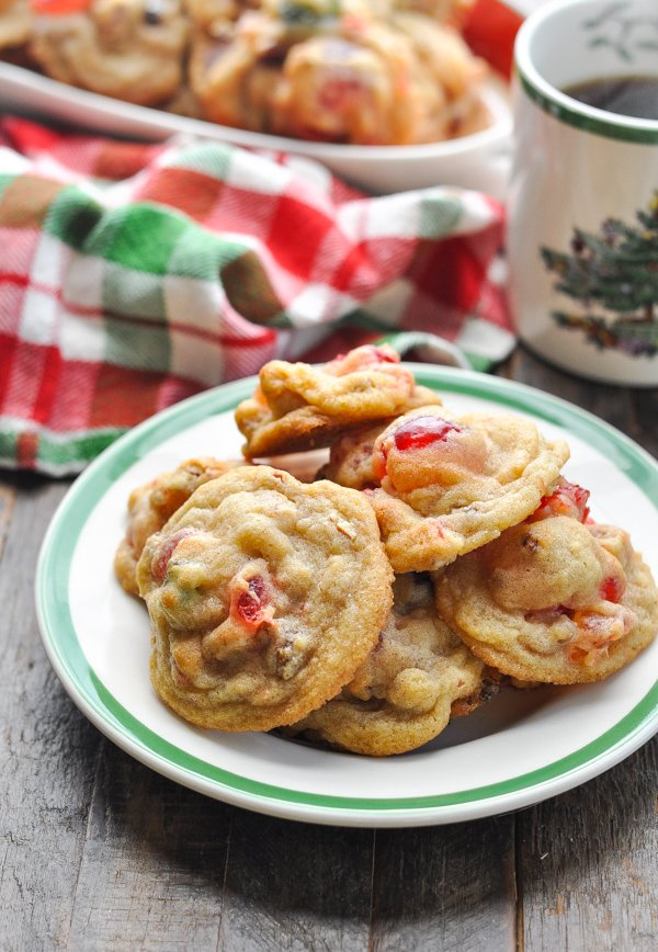 Front shot of a plate of fruitcake cookies