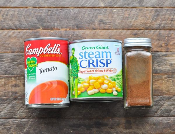Tomato soup corn and chili powder for ground beef casserole