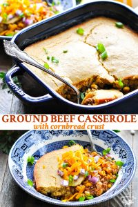 Long collage image of Ground Beef Casserole with Cornbread Crust