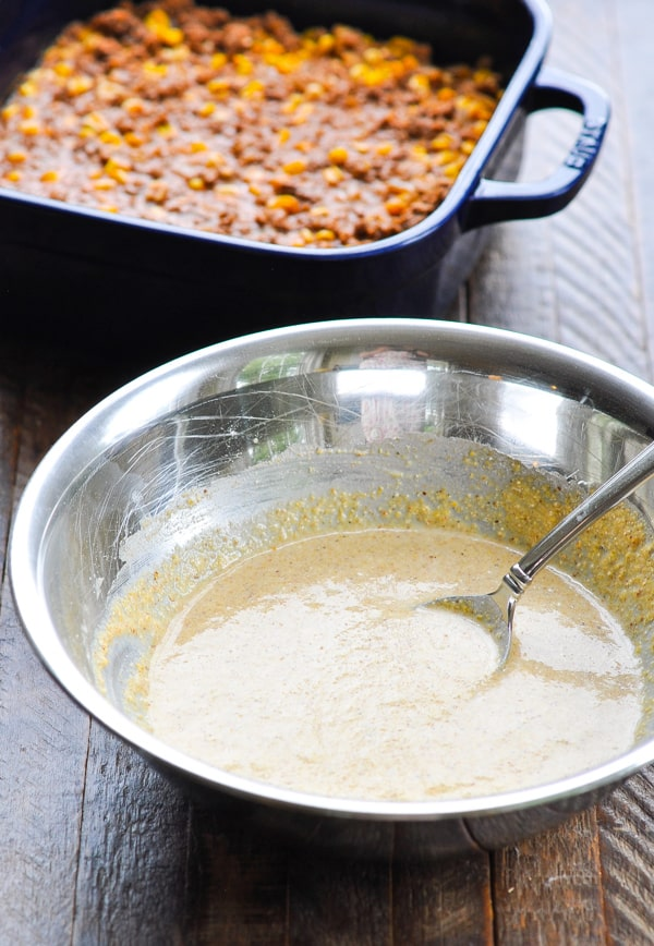 Cornbread batter for top of ground beef chili
