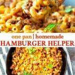 Long collage image of homemade hamburger helper