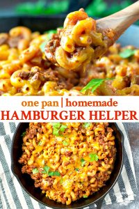 Long collage image of homemade hamburger helper