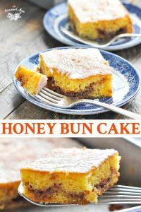 Long collage image of Honey Bun Cake