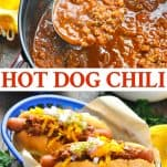 Long collage of Hot Dog Chili recipe