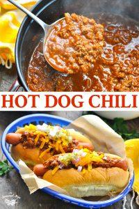 Long collage of Hot Dog Chili recipe