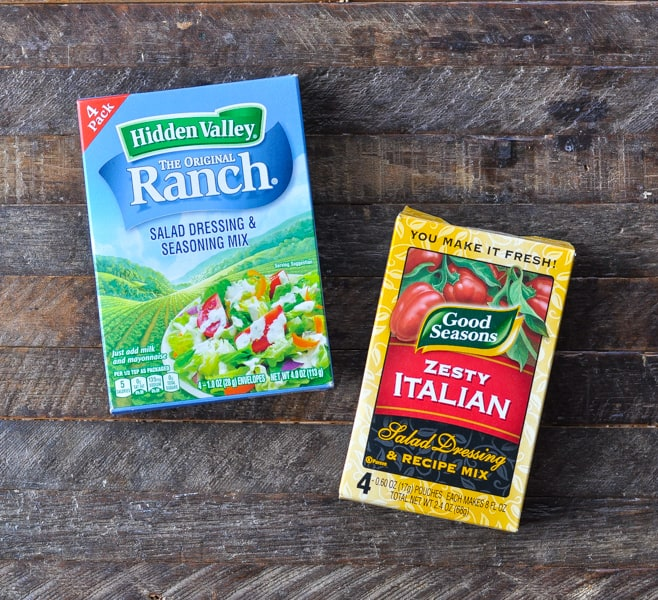Ranch seasoning and Italian dressing mix packets