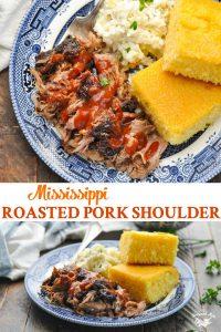 Long collage image of Roasted Pork Shoulder