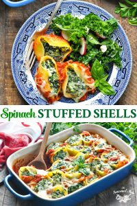 Long collage image of Spinach Stuffed Shells