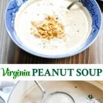 Long collage image of Virginia Peanut Soup recipe
