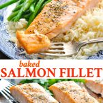 Long collage image of Baked Salmon Fillet