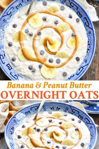 Long collage of Banana Peanut Butter Overnight Oats