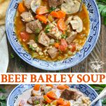 Long collage image of beef barley soup