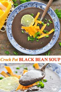 Long collage image of Black Bean Soup recipe