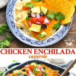 Long collage image of creamy chicken enchilada casserole