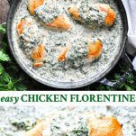Long collage image of Chicken Florentine