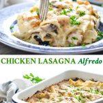 Long collage image of Chicken Lasagna