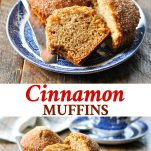 Long collage image of Cinnamon Muffins