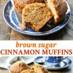 Long collage image of brown sugar cinnamon muffins