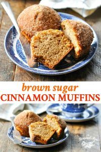Long collage image of brown sugar cinnamon muffins