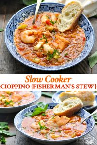 Long collage image of Cioppino recipe for the slow cooker