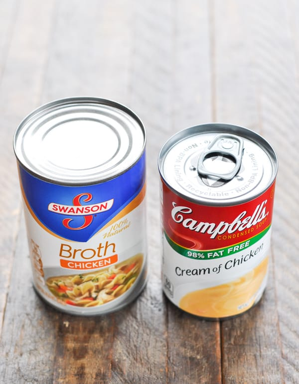 Can of chicken broth and can of cream of chicken soup