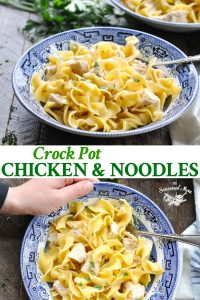 Long collage image of Crock Pot Chicken and Noodles