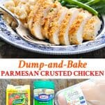 Long collage image of Parmesan Crusted Chicken