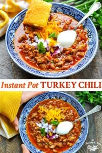 Long collage image of Instant Pot Turkey Chili